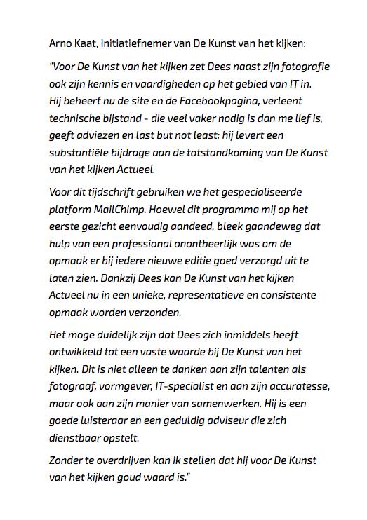 Foto van de reactie van Arno waarin hij zijn waardering uitspreekt over onze samenwerking.